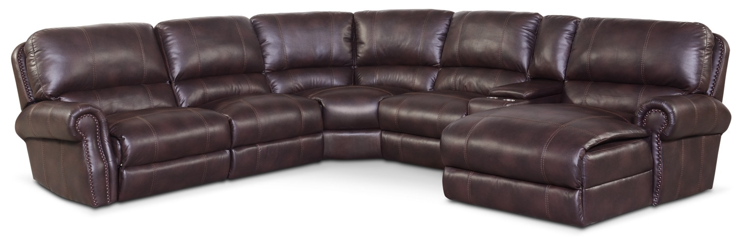 Dartmouth 6-Piece Power Reclining Sectional w/ Right-Facing Chaise and 1 Reclining Seat - Burgundy