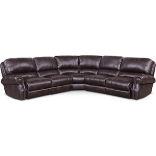 Dartmouth 5-Piece Power Reclining Sectional with 3 Reclining Seats - Burgundy