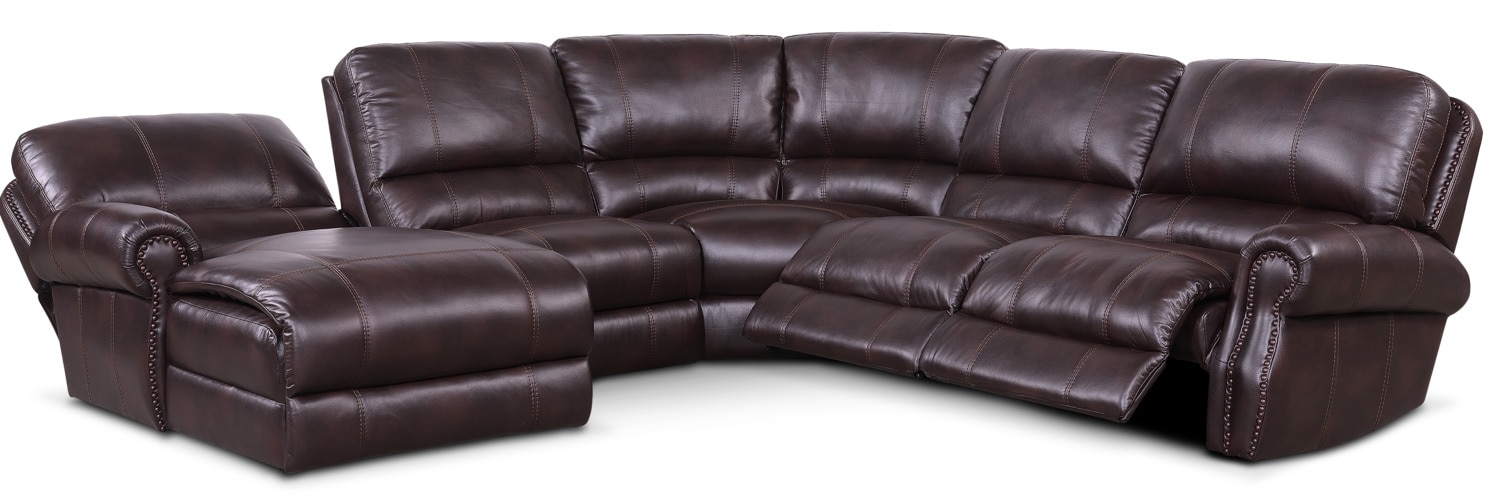 Dartmouth 5 piece power reclining sectional w left facing for Burgundy chaise