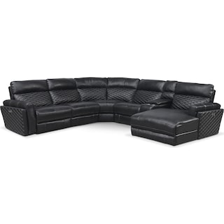 Catalina 6-Piece Power Reclining Sectional with Right-Facing Chaise and 2 Recliners - Black