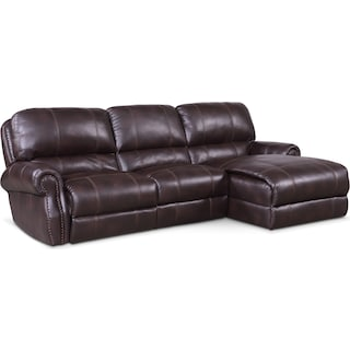 Dartmouth 3-Piece Power Reclining Sectional with Right-Facing Chaise and 1 Reclining Seat - Burgundy