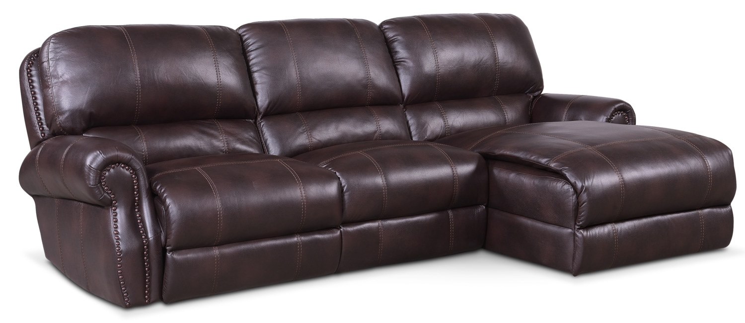 $1,649.97 Dartmouth 3 Piece Power Reclining Sectional With Right Facing  Chaise   Burgundy