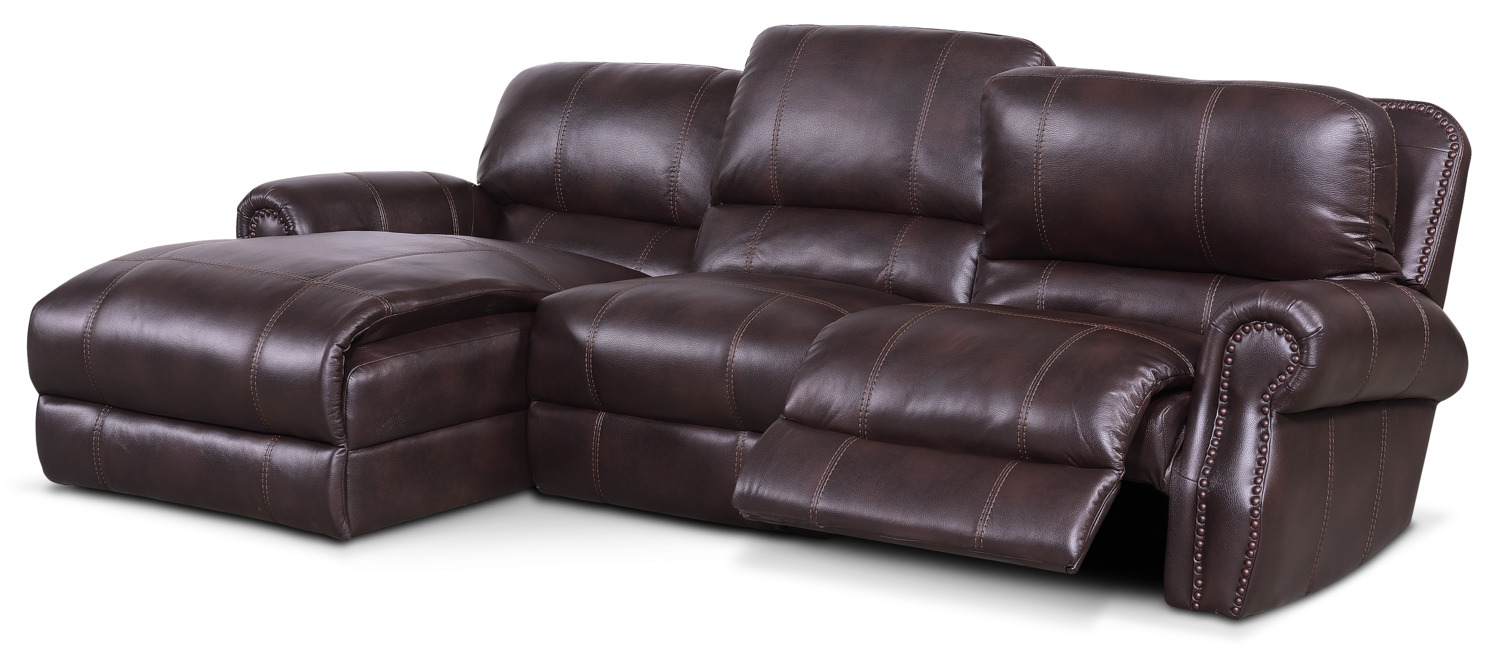 Dartmouth 3 piece power reclining sectional with left for Burgundy chaise