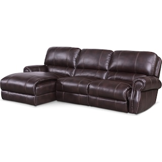 Dartmouth 3-Piece Power Reclining Sectional with Left-Facing Chaise and 1 Reclining Seat - Burgundy