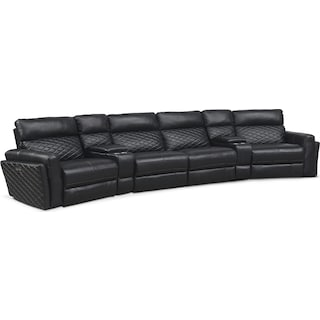 Catalina 6-Piece Power Reclining Sectional with 2 Wedge Consoles - Black