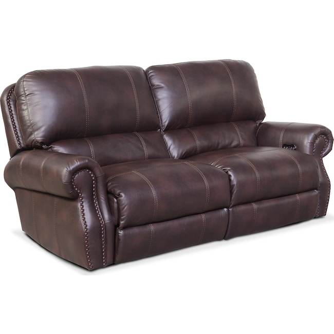 Living Room Furniture - Dartmouth 2-Piece Power Reclining Sofa - Burgundy