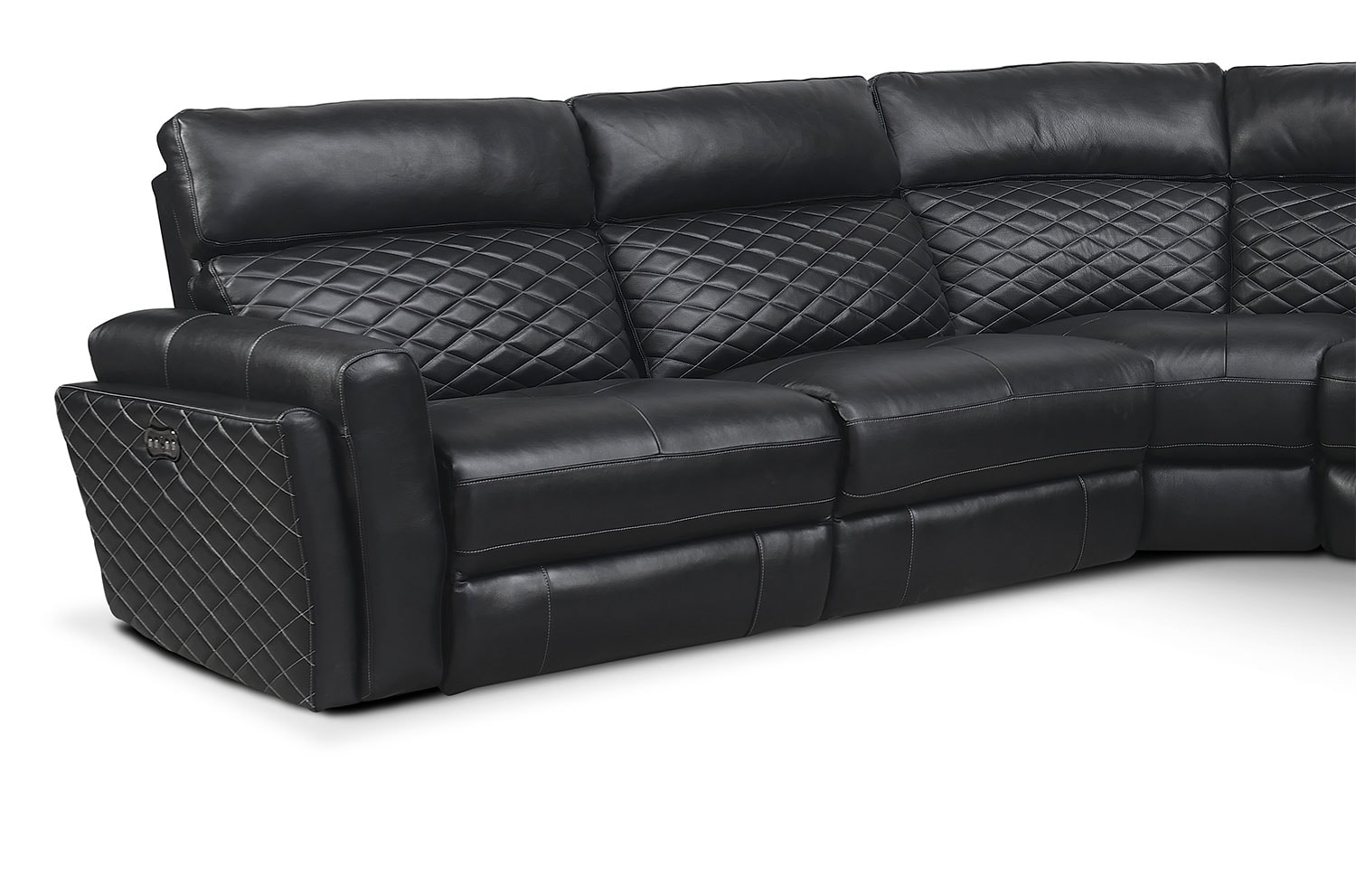Catalina 6 piece power reclining sectional with right for Black sectional with chaise