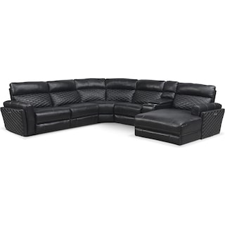 Catalina 6-Piece Power Reclining Sectional with Right-Facing Chaise and 1 Recliner - Black