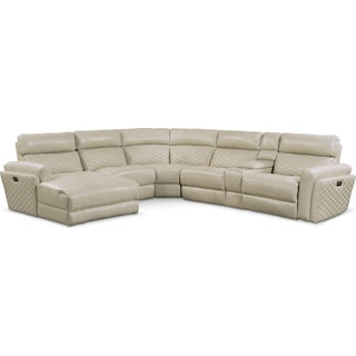 Catalina 6-Piece Power Reclining Sectional with Left-Facing Chaise and 1 Recliner - Cream