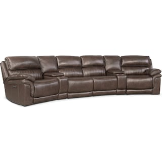 Monterey 6-Piece Power Reclining Sectional with 2 Wedge Consoles - Brown