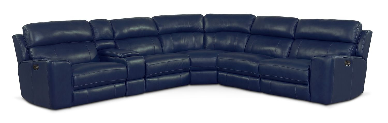 Newport 6-Piece Power Reclining Sectional with 3 Reclining Seats - Blue by One80  sc 1 st  American Signature Furniture : newport sectional - Sectionals, Sofas & Couches