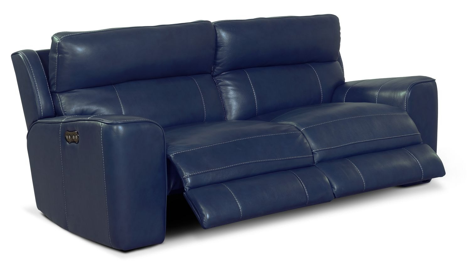 Newport 2 piece power reclining sofa blue american for Blue leather reclining sofa