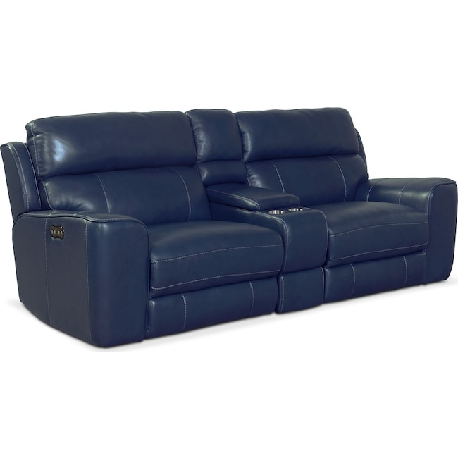 newport 3 piece power reclining sofa blue american signature