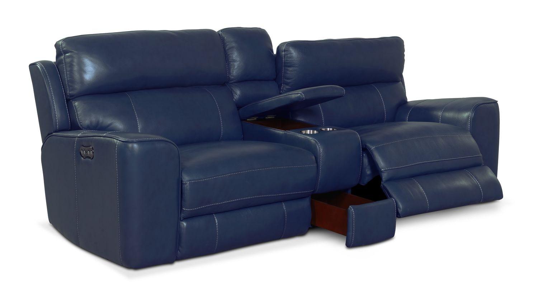 Newport 3 Piece Power Reclining Sofa Blue American