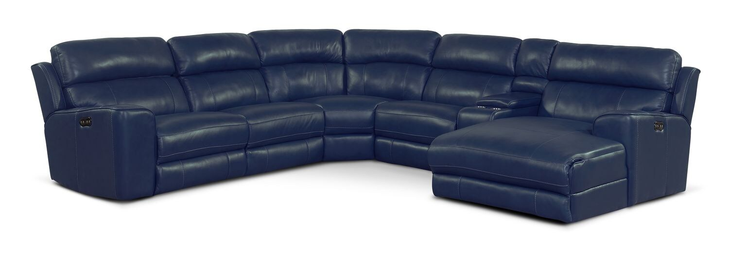 Living Room Furniture - Newport 6-Piece Power Reclining Sectional with Right-Facing Chaise and 1 Recliner - Blue
