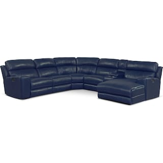 Newport 6-Piece Power Reclining Sectional with Right-Facing Chaise and 1 Recliner - Blue