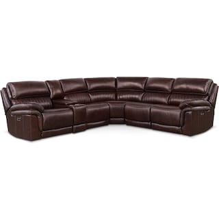 Monterey 6-Piece Power Reclining Sectional with 2 Reclining Seats - Chocolate