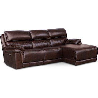 Monterey 3-Piece Power Reclining Sectional with Right-Facing Chaise - Chocolate