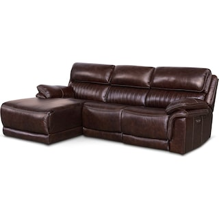 Monterey 3-Piece Power Reclining Sectional with Left-Facing Chaise - Chocolate