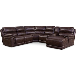 Monterey 6-Piece Power Reclining Sectional with Right-Facing Chaise and 2 Recliners - Chocolate