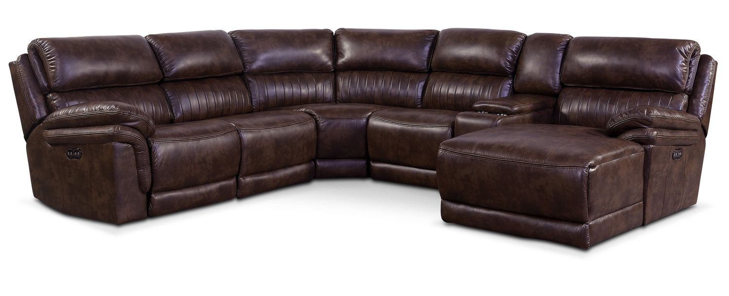 Monterey 6 Piece Power Reclining Sectional With Right Facing Chaise And 2  Recliners