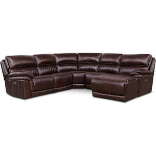 Monterey 5-Piece Power Reclining Sectional with Right-Facing Chaise and 2 Recliners - Chocolate