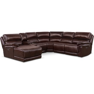 Monterey 6-Piece Power Reclining Sectional with Left-Facing Chaise and 1 Recliner - Chocolate