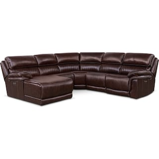 Monterey 5-Piece Power Reclining Sectional with Left-Facing Chaise and 1 Recliner - Chocolate