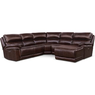 Monterey 5-Piece Power Reclining Sectional with Right-Facing Chaise and 1 Recliner - Chocolate