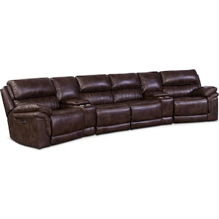 Monterey 6-Piece Power Reclining Sectional with Wedge Consoles - Chocolate