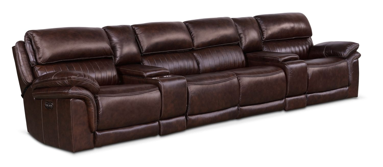 Monterey Power Reclining Sectional with 4 Reclining Seats - Chocolate