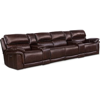 Monterey 6-Piece Power Reclining Sectional with 4 Reclining Seats - Chocolate