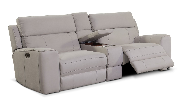 Newport 3 Piece Power Reclining Sofa With Console Light