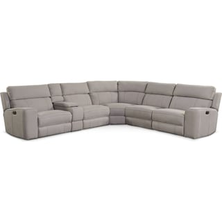 Newport 6-Piece Power Reclining Sectional with 3 Reclining Seats - Light Gray