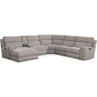 Newport 6-Piece Power Reclining Sectional with Left-Facing Chaise and 2 Recliners - Light Gray