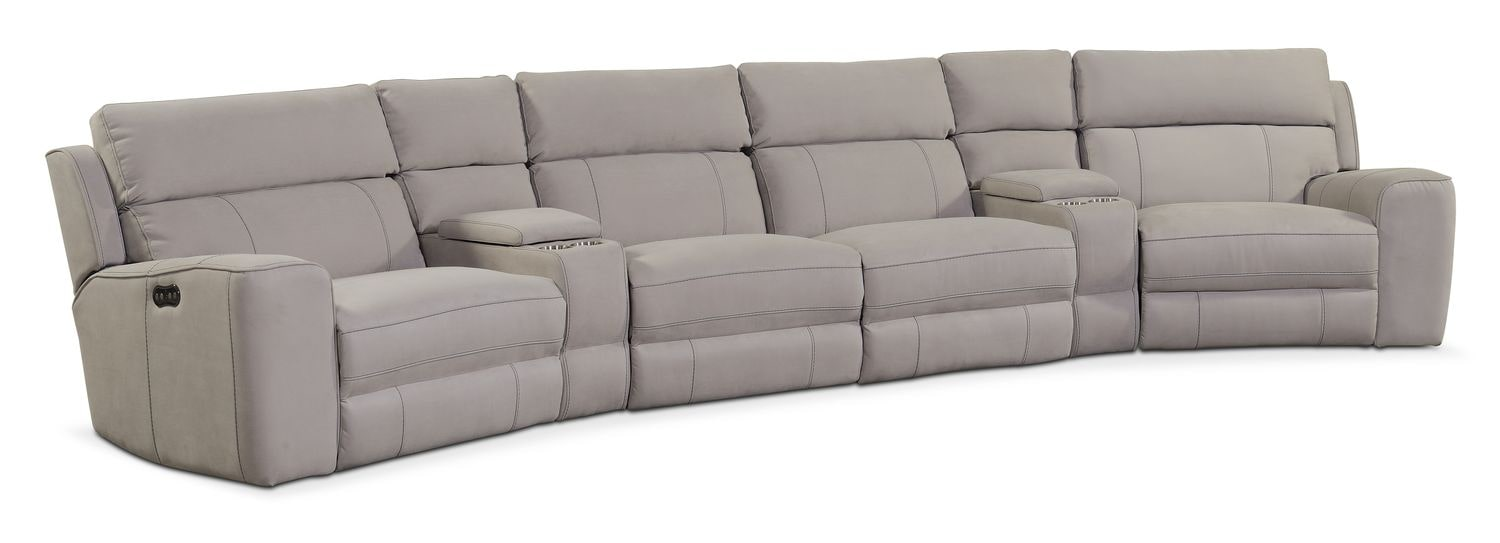 Newport 6-Piece Power Reclining Sectional with Wedge Consoles - Light Gray