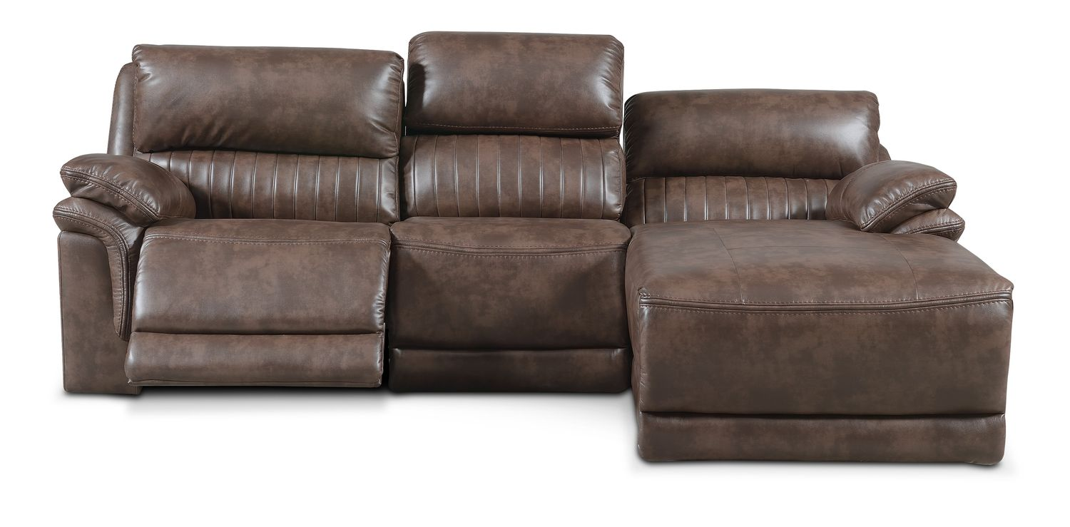 Monterey 3 piece power reclining sectional with right for Brown sectionals with chaise