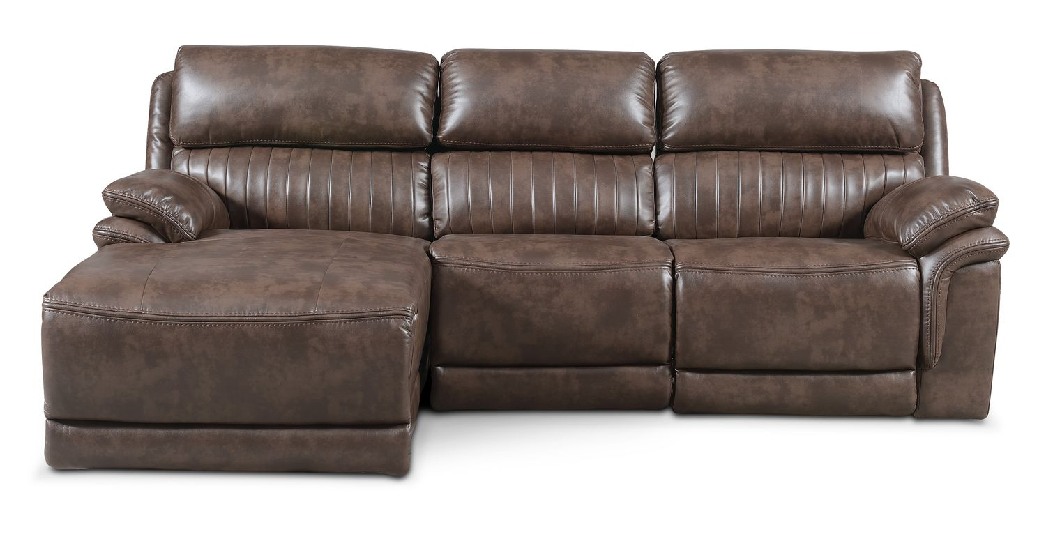 Monterey 3 piece power reclining sectional with left for Brown sectionals with chaise