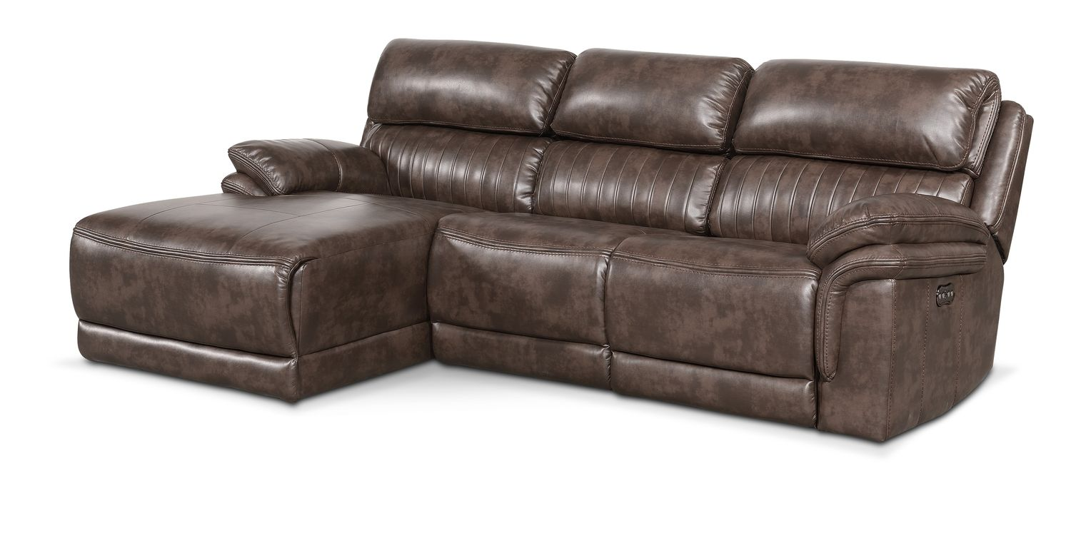 Monterey 3 piece power reclining sectional with left for Brown sectional sofa with chaise