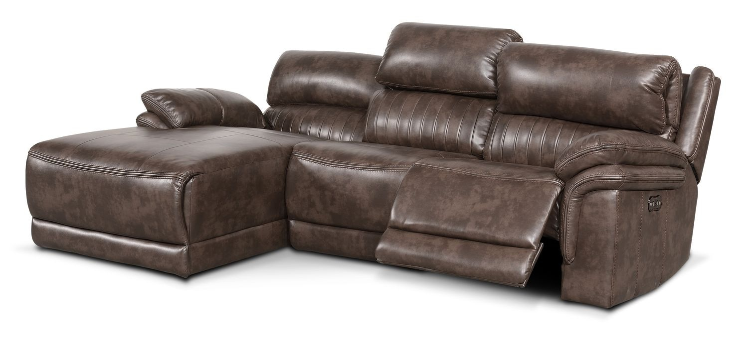 Monterey 3 piece power reclining sectional with left for Brown sectional with chaise