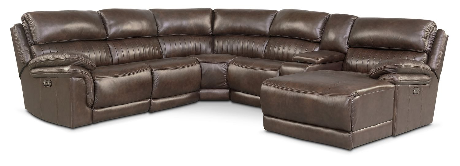 Monterey 6-Piece Power Reclining Sectional with Right-Facing Chaise and 2 Recliners - Brown
