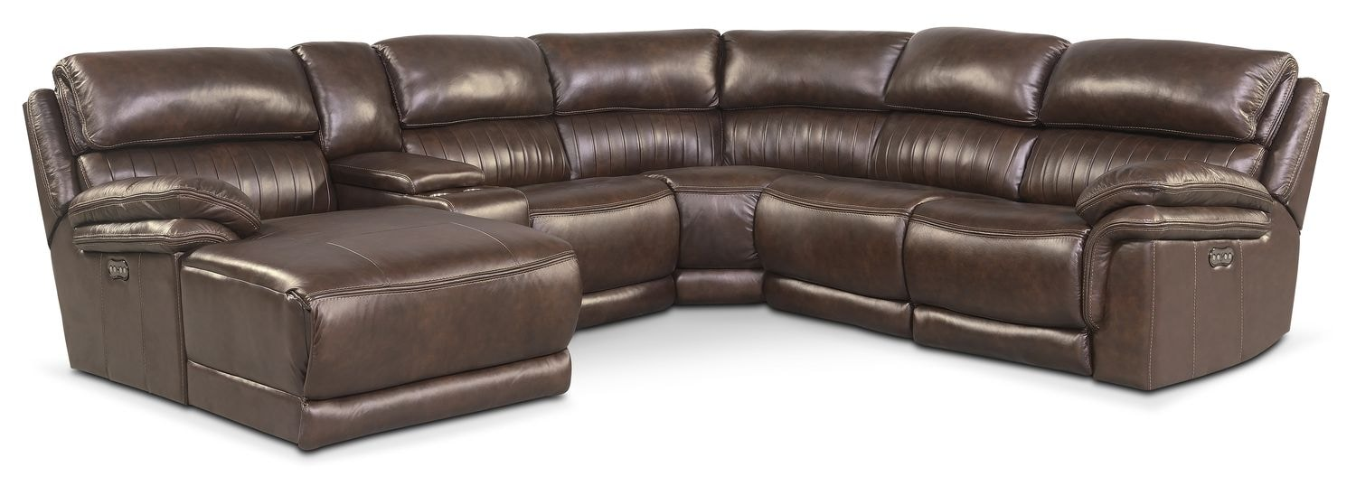 Monterey 6-Piece Power Reclining Sectional with Left-Facing Chaise and 1 Recliner - Brown