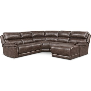 Monterey 5-Piece Power Reclining Sectional with Right-Facing Chaise and 1 Recliner - Brown