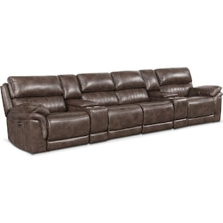 Monterey 6-Piece Power Reclining Sectional with 4 Reclining Seats - Brown
