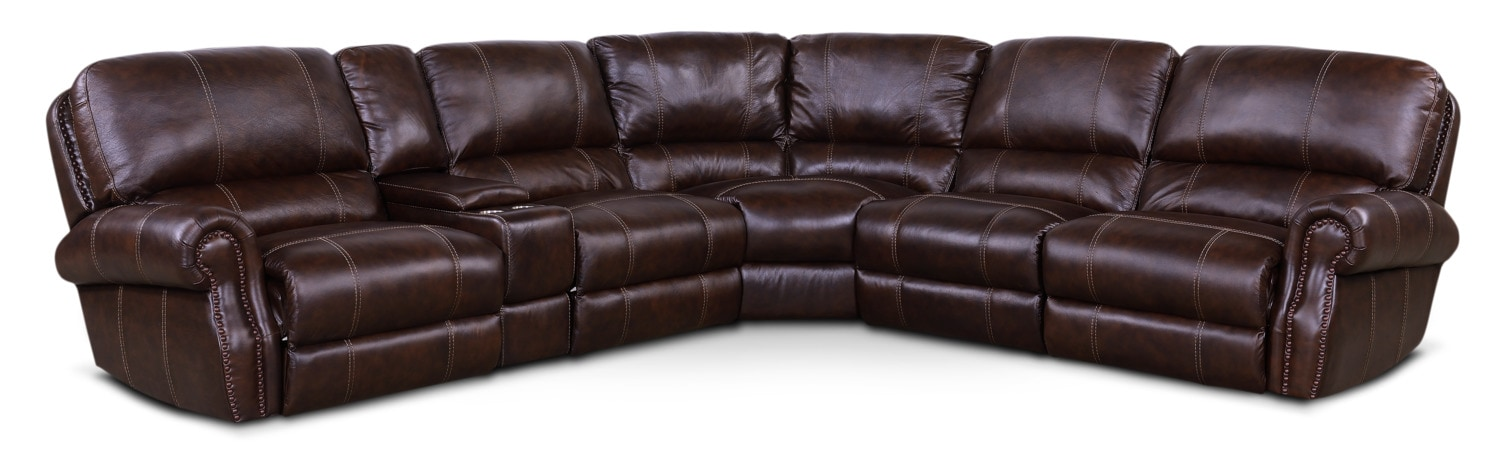 Dartmouth 6-Piece Power Reclining Sectional with 2 Reclining Seats - Chocolate