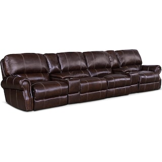 Dartmouth 6-Piece Power Reclining Sectional with 4 Reclining Seats - Chocolate