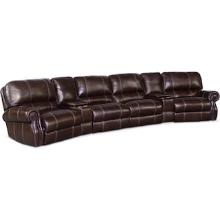Dartmouth 6-Piece Power Sectional with Wedge Console  - Chocolate