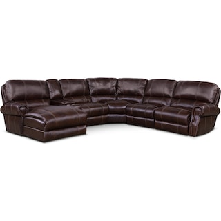 Dartmouth 6-Piece Power Reclining Sectional w/ Left-Facing Chaise and 2 Reclining Seats - Chocolate