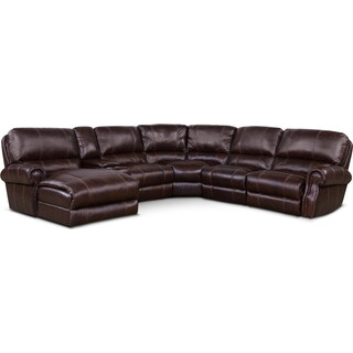 Dartmouth 6-Piece Power Sectional w/ Left-Facing Chaise and 2 Reclining Seats - Chocolate