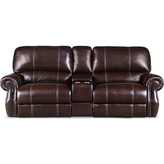 Dartmouth 3-Piece Dual-Power Reclining Sofa with Console - Chocolate